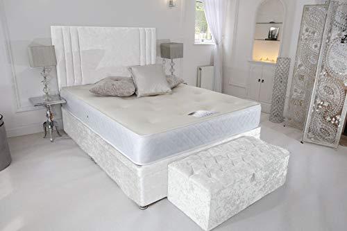 House & Home - Mantovana per letto in velluto riccio elasticizzato, facile da montare, colore: Bianco