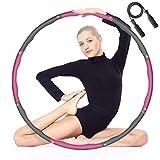 MOCOLI Hula Hoop Fitness Adulto Aro de Fitness Desmontable Diseño de Ancho Ajustable de 8 Secciones (28-37,4 in) para Estar en Forma con Las Cuerdas de Saltar 3M gratuitas Plegables