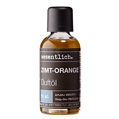 wesentlich - Aceite aromático de canela y naranja, 50 ml, ambientador prémium para lámparas y difusores, bienestar para los sentidos