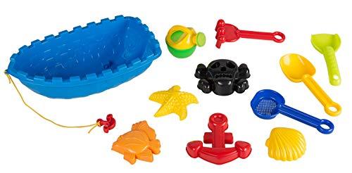Idena 40115 - Sandspielzeug Set 10 teilig bestehend aus 2 kleinen Schaufeln, kleiner Gießkanne, Boot, 5 Förmchen und kleiner Harke, in einem Boot, bunt, zum Spielen am Strand und im Sandkasten