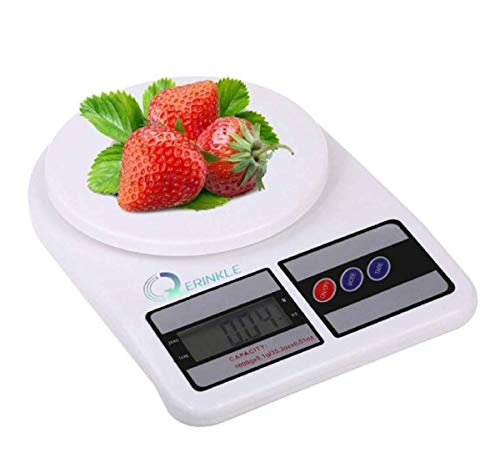 QERINKLE Digital Kitchen Weighing Machine Multipurpose Electronic Weight Scale with Backlit LCD Display for Measuring Food, Cake, Vegetable, Fruit (DESIGN 1) (ROUND)