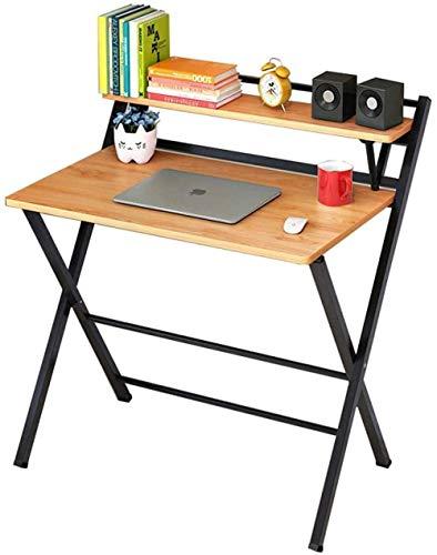 Mesa plegable para ordenador, escritorio simple para salón, dormitorio, oficina, color natural y marrón
