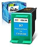 HavaTek Remanufactured Ink Cartridge Replacement for HP 97 for PhotoSmart 335 337 370 375 385 420 422 OfficeJet D5163 D5168 100 H470 150 7310 K7100 DeskJet 6940 460 5740 Printer (1 Pack,1 Color)