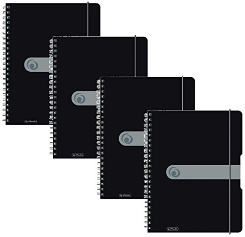 Herlitz 11293073 Spiralblock A4 to go, Holzfreies Papier, 80 Blatt (4er Pack A4, schwarz)