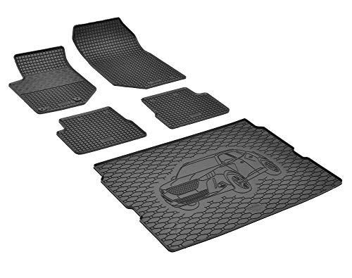 Bac de coffre et tapis de sol en caoutchouc sur mesure pour Peugeot 2008 à partir de 2020.