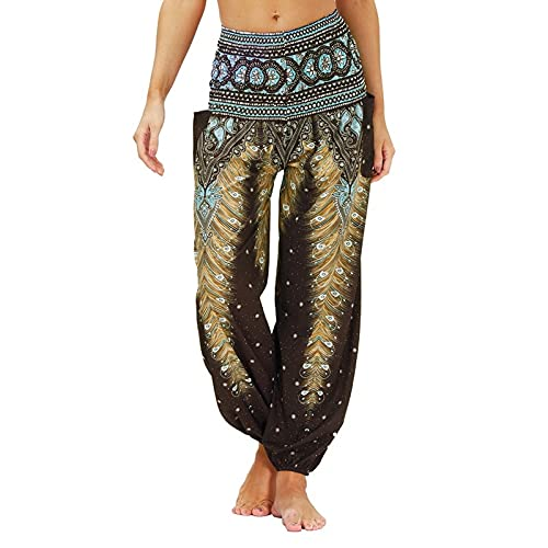 QTJY Pantalones Casuales de Moda para Mujer, Pantalones Harem Sueltos, Pantalones Hippie Bohemios, Pantalones de Yoga Suaves con Cintura Alta y pula fluidos, H L