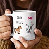 Boss Gifts - Taza de regalo de cumpleaños, diseño de unicornio con texto en inglés 'Other Bosses Versus Me'