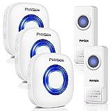 Timbre inalámbrico PHYSEN CW 2 botones impermeable y 3 receptores, operación a 300m de alcance, 52 melodías, 4 niveles de volumen ajustables, para el hogar/la oficina/la tienda