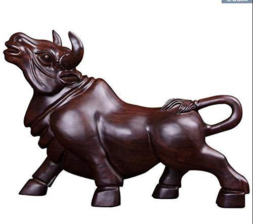 VBNHGF Estatuas Figuritas Decoración Escultura Figuritas Decorativas Estatuas Sándalo Negro Ebony Muebles De Vaca Tallados Wall Street Toro Volador Ebony Muebles De Madera Palo De Rosa Escultura He