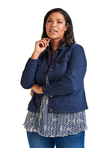 Zizzi Damen Große Größen Denim Jacke mit Knöpfen und Kragen Gr 42-56