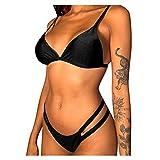 Bikinis Mujer de Color Sólido Push Up,Sexy Ajustable Triángulo Bañador Tanga Cintura Baja,Clásico Trajes de Baño Adecuado Viajes Playa La Natacion Verano