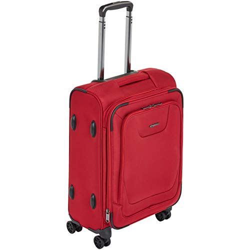AmazonBasics Expandable Softside Carry-On Spinner Luggage Suitcase With TSA Lock And Wheels - 23 Inch, Red