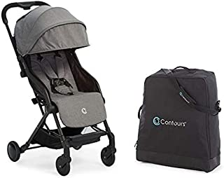 Contours Bitsy Compact Fold Lightweight Travel Stroller + Convenient Collapsible and Water-Resistant Bitsy Travel Bag/Carrying Case, Granite Gray/Black
