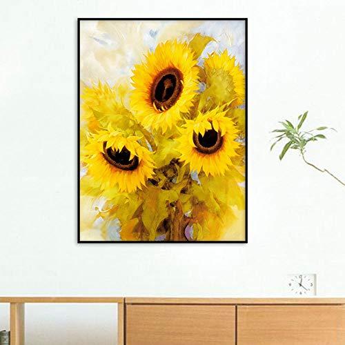 SYyshyin Mural moderno de estilo nórdico para sala de estar o dormitorio, pintura en aerosol, pintura abstracta, pintura decorativa – flores crisantemo (40 x 50 cm)