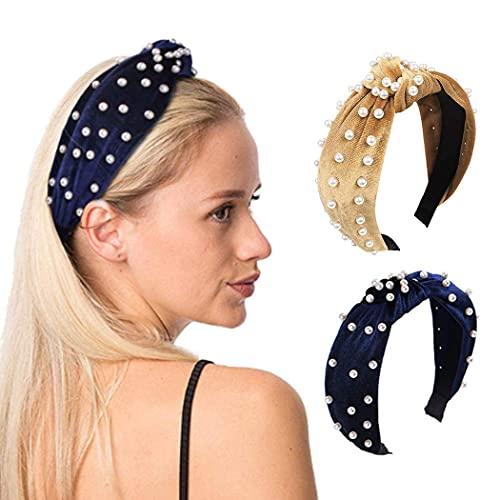 Diademas vintage de terciopelo con perlas, nudo, turbante, banda para el pelo, amarillo, cruzado, con perlas de imitación, para mujeres y niñas, paquete de 2, adecuado como regalo para niñas
