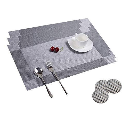 Table Mats Set of 8 Dining Table Place Mats Washable Placemats Non-Slip Heat Resistant PVC with Singel Border Decoration Rectangle 45x30cm and Sets of 8 Coasters for Kitchen and Dining Room