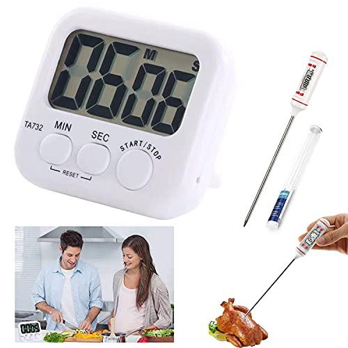 Timer da Cucina,Timer da cucina digitale con grande schermo LCD, Timer con allarme sonoro e conto alla rovescia(Timer + termometro)Adatto per il controllo del tempo e la misurazione della temperatura
