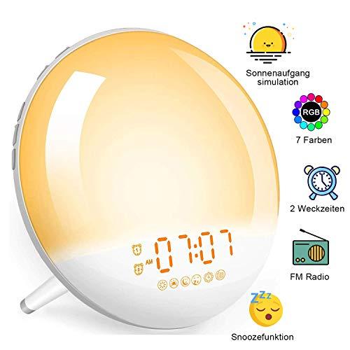 Tageslichtwecker Sonnenaufgang Lichtwecker mit Radio - Wake Up Licht, 2 Alarme/Snoozefunktion/7 Wecktöne/7 Farben Nachtlicht, Wecker für Kinder & Erwachsene