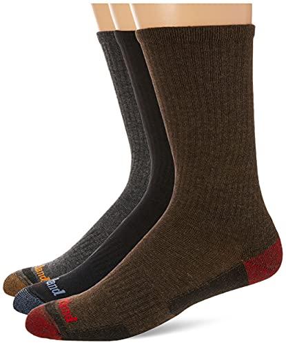 Timberland mens 4-pack Comfort Crew Casual Socks, Grey Multi, 10 13 US