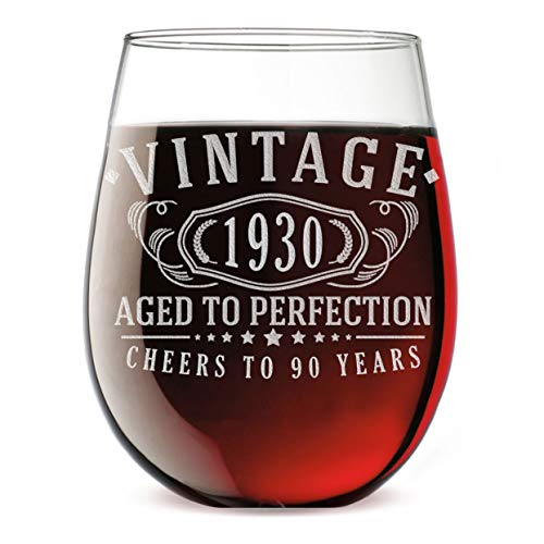 Aged to Perfection 90th Birthday Wine Glass