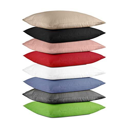 Hometex Premium Textiles 2-er Set Kissenhülle Baumwolle Exklusive | Doppelpack Kissenbezüge ca. 115 g/m² | ÖKO-TEX Standard Kissen-Bezug mit Rei߭verschluss | 2er Set | 40 x 80 cm Schwarz