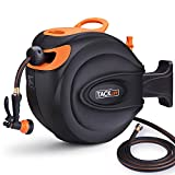 TACKLIFE 5/8'' Hose Reel, 65+7 FT Wall Mounted Retractable Hose Reel, 7 Patterns Hose Nozzle, Brass Connector, 180 Degree Pivot, Auto Rewind and Any Length Lock