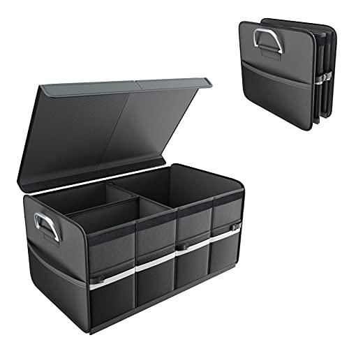 SAVON Organizador maletero coche Bolsas para maletero del coche con tapa de aluminio y asas Caja de almacenamiento plegable para el coche Gran capacidad 68L Negro