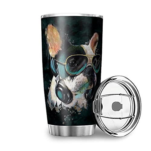 weipengda-Fashion Shoes French Bulldog Sunglasses Watercolor Easy-Clean Insulated Stainless Steel Travel Cup for Coworker or Best Friend White 20oz
