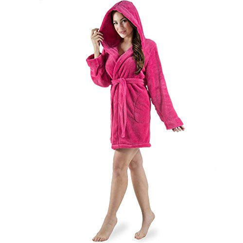CelinaTex Korfu Damen Bademantel mit Kapuze M pink Sherpa Fleece Morgenmantel kurz Saunamantel