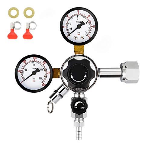 FERRODAY Dual Gauge CO2 Draft Beer Regulator Dual Stage Pressure Regulator CGA-320 CO2 Tank Beer Kegerator Regulator Dual Valve Beer Keg Pressure Regulator Homebrew 0-3000PSI 0-60 PSI Keg Regulator