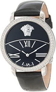Versace Women's 93Q99D008 S009 Krios Black Enamel and Sunray Dial Patent Leather Band Watch image