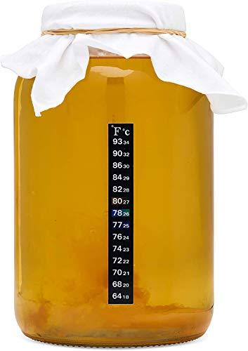 kitchentoolz Kombucha Starter Kit mit Premium-Scoby Starter - Gallon Brewing Jar und Kunststoff-Deckel, Teebeutel, Temperaturanzeige, Bio-Zucker und vieles mehr