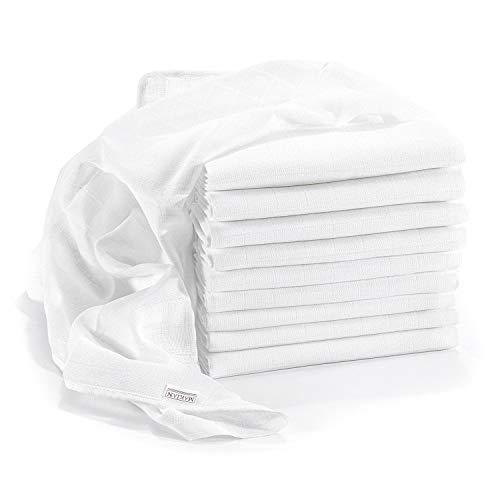 Makian - Muselina / Paño algodón bebe - 10 Ud., 80x80 cm, blanca | sin sustancias nocivas, tejido doble, certificado OEKO-TEX