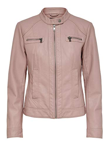 ONLY Damen ONLBANDIT Faux Leather Biker OTW NOOS Kunstlederjacke, Adobe Rose, 38