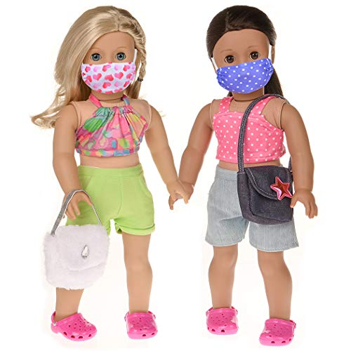 ebuddy 2 Sets Doll Outfits and Accessories with 1 Pair Cave Slippers 2 Fashion Handbags Total 9 Pcs for 18 inch American Girl Doll