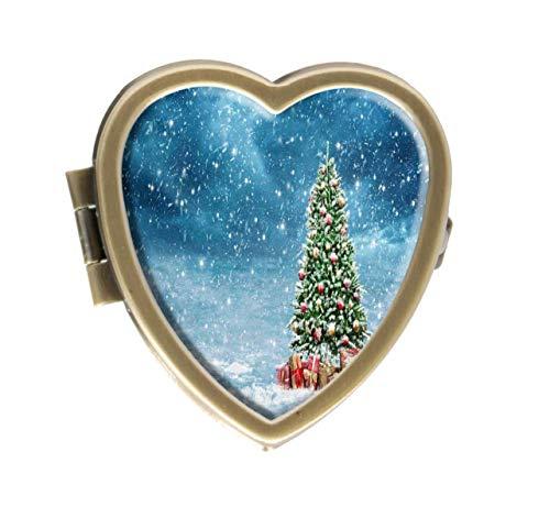 Cronriy Pillendose, Motiv: Winterlandschaft mit verziertem Weihnachtsbaum-Design, Pillendose für Taschen oder Geldbörse