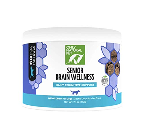 Only Natural Pet Senior Brain Health, Holistic Vitamin with Turmeric, Ashwaganda, Ginkgo, Choline, Probiotics EPA & DHA Essential Fatty Acid - Multivitamin for Older Dogs - Soft Chews - 60 Count