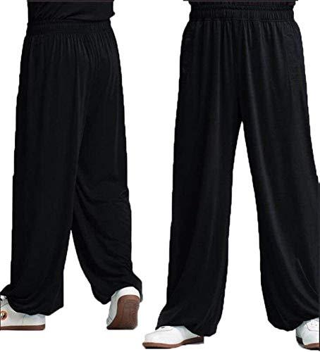 Pantalones De Tai Chi Pantalones De Kung Fu Pantalones Sueltos De Wing Chun Pantalones De Meditación Pantalones Zen Pantalones De Artes Marciales,Black-XS