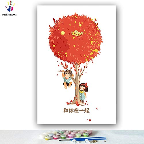 DIY Pintar por númerosDibujo para Colorear Color Pareja árbol ilustración Dibujo composición Dibujo 40x50cm Sin Marco