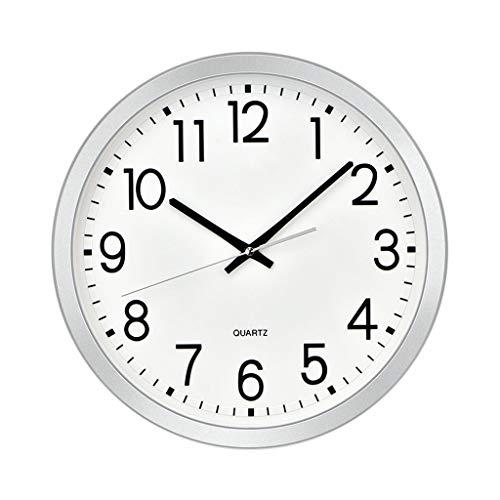 OUMYLFCNEC Relojes de Pared Sala de Estar Big Digital Wall Clock Plata Blanco Simple Silent Reloj Dormitorio Cocina Cuarzo Reloj Reloj de Pared Redonda 14 Pulgadas Relojes de Pared Decorativos
