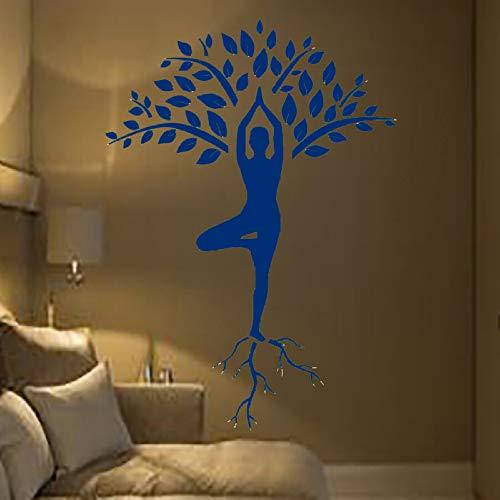 Calcomanías de pared de árbol para dormitorio Pegatinas de yoga Decoración Gimnasio Decoración nórdica para el hogar Calcomanía de gimnasta Sala de estar Autoadhesivo color-2 42x59cm
