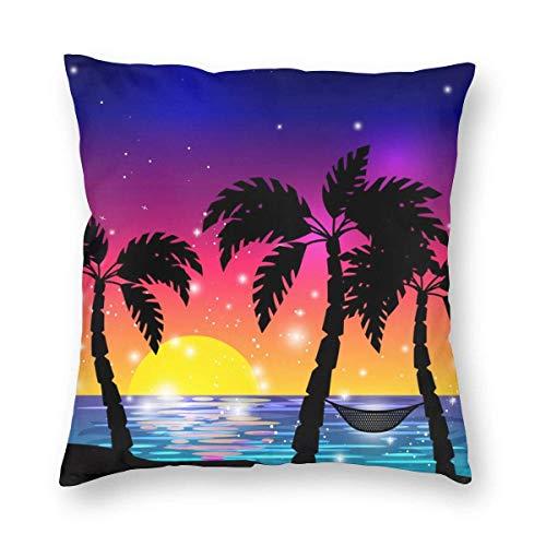 Mackinto Palmeras con Vista al mar caribeño Fundas de Almohada Decorativas cuadradas Fundas de Cojines Suaves para sofá Dormitorio Coche 18 X 18 in