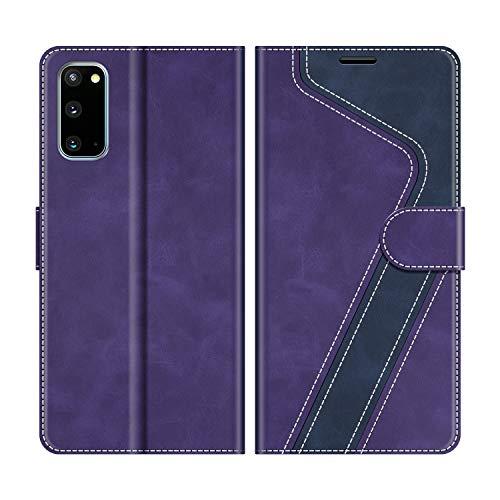 MOBESV Handyhülle für Samsung Galaxy S20 Hülle Leder, Samsung Galaxy S20 Klapphülle Handytasche Hülle für Samsung Galaxy S20 Handy Hüllen, Violett/Dunkelblau