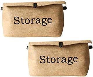 MU Grande boîte de rangement en tissu, boîte de rangement pliable en coton et en lin, boîte de rangement couverte, boîte d...