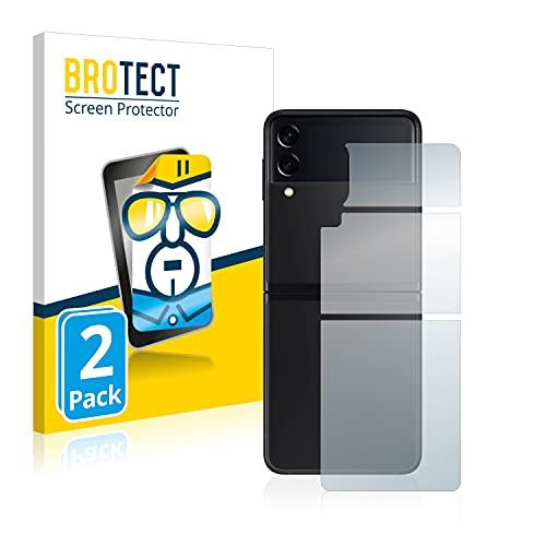 BROTECT Schutzfolie kompatibel mit Samsung Galaxy Z Flip 3 5G (Rückseite) (2 Stück) klare Bildschirmschutz-Folie