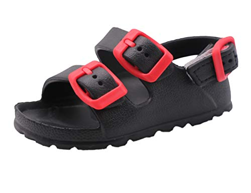 First Steps Water Summer Comfort Slip-On Sandals Shoes for Boys Toddlers (Black W/Red Buckles, numeric_4)