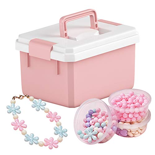 Mogzank Set di Perline per Bambini Set di Perline DIY Kit Artigianale per Creazione di Gioielli Collana di Bracciali Cerchietto con Scatola Portaoggetti per Bambini