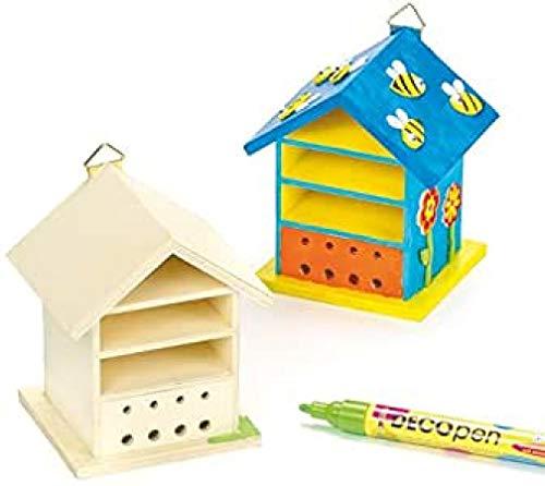 Baker Ross Insektenhäuser aus Holz für Kinder zum Bemalen und Dekorieren (2 Stück)