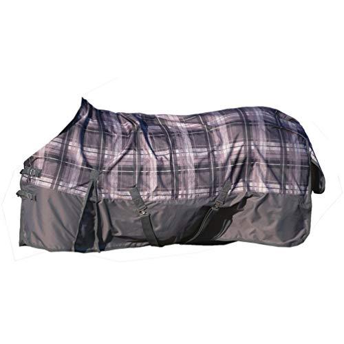CAVALLINO MARINO Velluto 1200D - Manta para Caballo (Relleno de algodón, 300 g), diseño de Cuadros, Color Gris