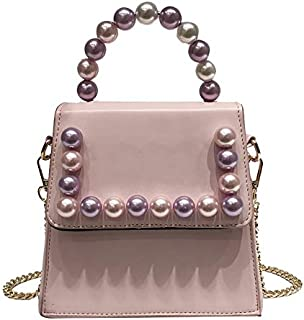 Adebie - Cute Crossbody Bags Pearl Chain Candy Color Female Tote Bag Girls 2019 New Small Handbag PU Flap Fashion Women's Messenger Bag Pink []